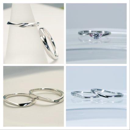 指に沿うカーブの細マリッジリング*結婚指輪