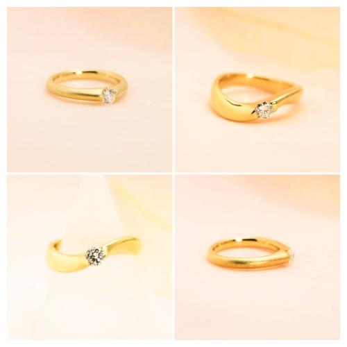 シンプルなゴールド台のダイヤモンドリング