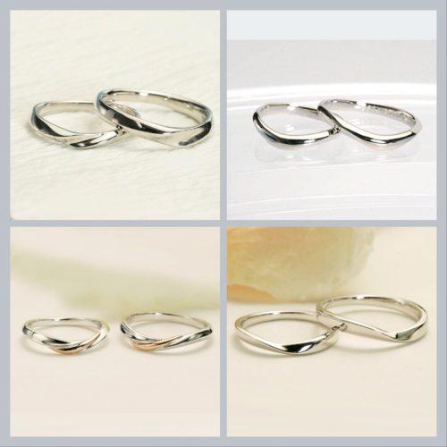 シンプルなウエーブペアリング マリッジリング*結婚指輪
