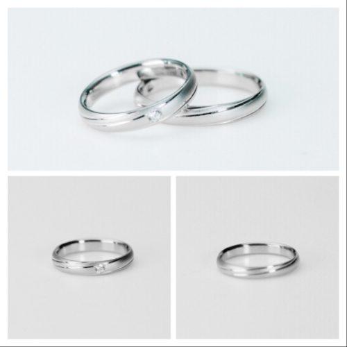 キラリとラインが特徴のマリッジリング*結婚指輪