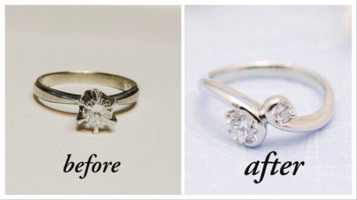 立て爪のダイヤモンドリングを・・・。
