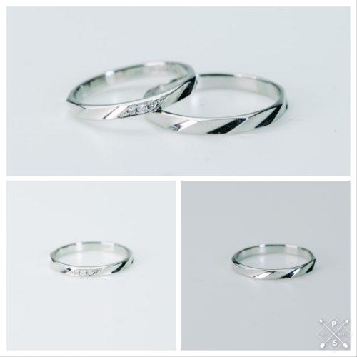 シャープなラインがおしゃれな細目のマリッジリング*結婚指輪