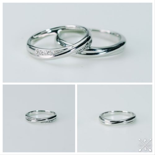 美しいボリュームフォルム Pt900マリッジリング*結婚指輪