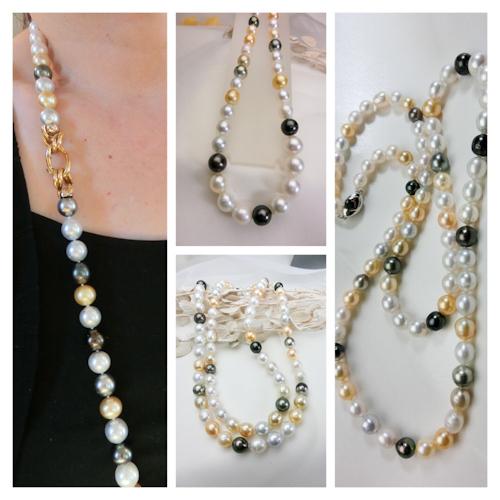 大粒のマルチカラー南洋真珠ネックレス