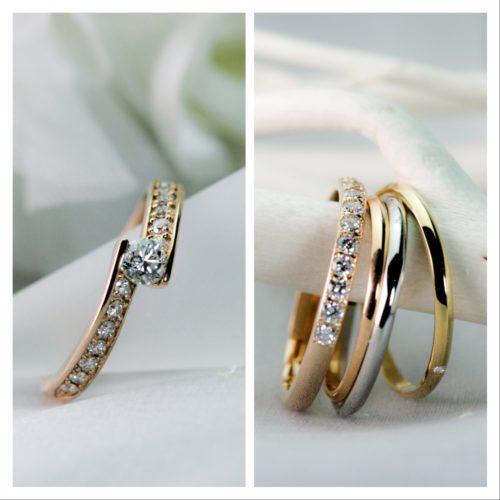 ピンクゴールドのダイヤモンドエンゲージリング