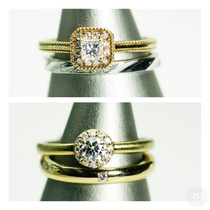 ダイヤモンドリングとマリッジリング重ねづけ