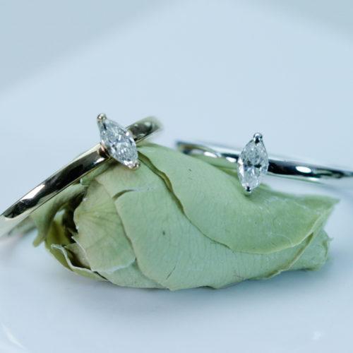 マーキーズカットのダイヤモンドリング