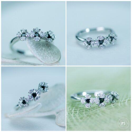 おしゃれなブラックダイヤモンドが入ったフラワーデザインリング