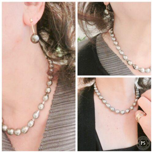涙型のパールが美しい黒真珠